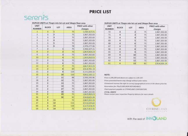 Serenis Pricelist 07.17.16 page 1